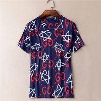 Wholesale TRENDING summer luxury brand designer men s T Shirts fashion short sleeve T Shirts basic men s clothing tee tops white blue XL