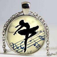 ballerina necklace vintage - Art Collage Ballerina Dancing Glass Cabochon Pendant Necklace Vintage Bronze Chain Necklace for Women Jewelry Dance Teacher Gift
