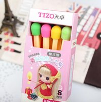 Wholesale box Cute Kawaii Matches Eraser Lovely Colored Eraser for Kids Students Kids Creative item Gift