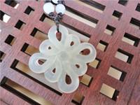 al por mayor nudo collar de jade-Natural XIUYU Jade blanco colgante ahueca hacia fuera los accesorios Jade collar chino nudo antiguo DIY joyería pendiente accesorios