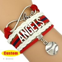 angeles love heart - Pieces Infinity Love Angeles Baseball Bracelet Angels of Anaheim Baseball Bracelet Red Navy Blue White Leather