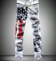 american flag drawings - High quality Men Fashion clothing american flag stripe print jeans slim fashion skinny pants color drawing plus size