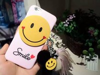 Wholesale For Apple iphone plus case S iphone6 Plus Smile Face Pom Pom Balls Tassel cell phone protective covers