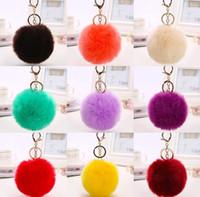 Wholesale 200pcs Hot Sales Super Round Metal Key Chain Rabbit Hair Bulb Fur Plush Pom Poms Ball Bag Car Ornaments Pendant Key Ring JF