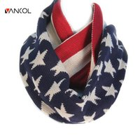 american flag loop - Unisex Men Winter Christmas Shawl Warm Ring Loop Knit Pure Cashmere Red Blue Star Infinity Womens Wool American Flag Scarf