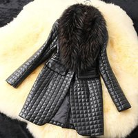 Women big fur collar - Winter big raccoon fur collar women coat sheep skin simulation leather plus cotton leather jacket women long coats