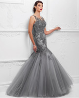 Wholesale Grey Lace Mermaid Mother Of The Bride Dresses Sheer Illusion Neck Applique Beaded Wedding Guest Dress Sexy Plus Size Evening Party Gown