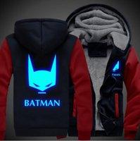 al por mayor mujer sudadera batman-Las señoras luminosas de la chaqueta de la cremallera de Cosplay de las mujeres de los hombres de Batman espesan el tamaño de los EEUU de la capa del Hoodie