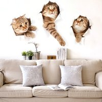 achat en gros de autocollants muraux pour enfants-Cartoon Animal Kitten Children's Room Stickers muraux 3D Simulation Pet Shop Décoré Salon Autocollants décoratifs XH6215