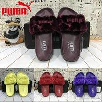 Wholesale 2017 New Style puma Leadcat Fenty Rihanna Shoes Men Women Slippers Indoor Sandals Girls Scuffs Cheap Fur Slides