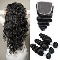 Wholesale 7A Brazilian Loose Wave Hair Weaves Bundles with Closure Free Middle Part Double Weft Human Hair Extensions Dyeable Human Hair Weave