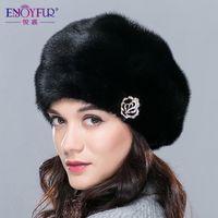 berets for sale - Women s hats winter real mink fur hat for women luxury diamond accessories Russia fashion hot sale ladies fur berets caps