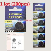 Wholesale 200pcs CR2032 V lithium li ion button cell battery CR Volt li ion coin batteries