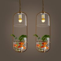 Wholesale Pastoral ecological restaurant creative personality pendant light corridor balcony household glass fishbowl plant pendant lamp