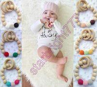 baby bracelet toy - INS Baby Infant Rainbow Wooden Bracelets Baby Soothers Teether Infant Wooden Beads Teethers Beads Handmake Teething Baby Toys