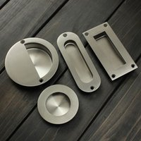 Wholesale 2Pcs Stainless Steel Door Handle Flush Recessed Pull Circular Oval Rectangular Hardware Drawer For Home Tools