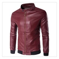 Wholesale Leather Jacket Korean Style Autumn Fashion Stand Collar Washed PU Men s Casual Pure Color Leather Jackets US Size XS XL