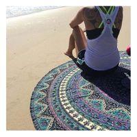 Wholesale Round Indian Elephant Towel Scarve Mandala Tapestry cm Beach Picnic Throw Rug Blanket Polyester Cotton Beach Towel Dec02