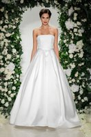 Cheap Strapless Ball Gown with Bodice of Mixed Lace Bands and Pleated Skirt Wedding Dress with Pocket Bridal Dress vestido de noiva