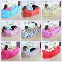 Wholesale 20 Colors Fast Inflatable Air Sleeping Bag Hangout Lounger Air Camping Sofa Portable Beach Nylon Fabric Sleep Bed LJJH1466
