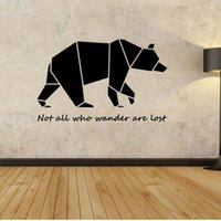 bears live - Large Geometric Bear Vinyl Quote Wall Decal Sticker Home Decoration Art Mural for Living Room Bedroom