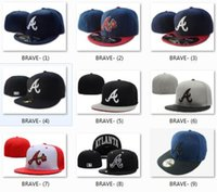Wholesale 2017 Atlanta Braves Snapback Medium Raised Embroidery Letter Fitted Hat Classic High Crown Blue Baseball Fit Cap