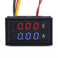 automotive digital multimeter - Digital Current Tester Multimeter DC V Volt A Ampere Battery Monitor Gauge in1 Red Blue color LED Display Car Automotive V V