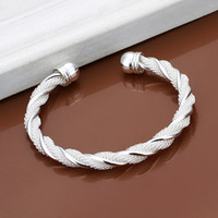 Cheap Twisted Wire Net Bracelet Fashion Round Modeling Silver Jewelry For Elegant Lady as Christmas Gift on Wholesale