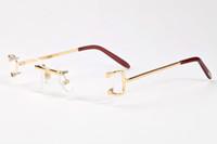 al por mayor gafas de sol lente roja-Moda Hombres Big Buffalo Cuerno Gafas De Sol Mujeres Cuadros Rimless Gafas Oro Metal Piernas Ojos Gafas De Sol