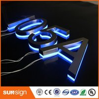 Wholesale Custom stainless steel LED lighted backlit house numbers for hotels