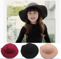 achat en gros de large chapeau cloche bord-Casquettes pour enfants Casquettes pour filles Casquettes en feutre de laine à large bande Vintage