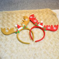 Wholesale 2016 Christmas Hair Accessory Decoration Red Brown and yellow Cartoon Hairbands Head Hoop Clasp Xmas gift For your family