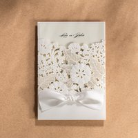 Wholesale New wishmade brand quality white flower laser cut wedding invitation card with bow