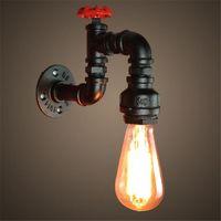 Iluminación antigua de la CA 110V-240V E27 de la vendimia Edison que enciende el sostenedor de iluminación retro de la pipa del hierro del loft de la base de la lámpara de pared