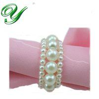 bead napkin rings - pearl Napkin Rings wedding napkin holder Wedding decoration Supplies white plastic ABS beads ring for napkin table dinnerware