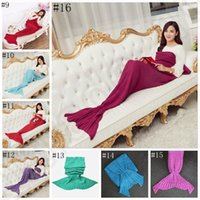 Wholesale Adults Mermaid Tail Blanket cm Warm Super Knitted Soft Blankets Bedding Wrap Sofa Blanket Sleeping Bag OOA990