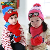 Wholesale 2PCS Cartoon Cotton Baby Hats Velvet Hat Scarf Sets Hat For Boy Girls Autumn Winter Infant Skullies Warm Baby girl Accessories