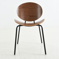 american walnut - Contemporary and contracted European American walnut real wood wrought iron leisure coffee milk tea shop restaurant meeting chair dining c
