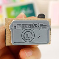 Wood Decoration 2015-1120-8 Wholesale- New Novelty 2 Model Korean Wooden Vintage Retro Camera Shape Rubber Stamp Seal Gray & Brown DIY Photo Decorating