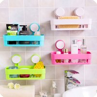 Wholesale hotsale bathroom accessories colorful wall mounted type plastic bathroom shelves suction up wall shelf storage holders