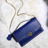 Wholesale Designers brands High grade genuine leather handbags New rivets genuine leather handbags Fashion ladies chain shoulder b