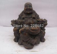 antique chinese figurines - Chinese old copper bronze carved Maitreya Buddha Figurine Buddha Statue