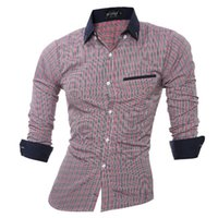 Wholesale New in the fall and winter of High quality foreign trade long sleeve shirts men grid cultivate one s morality