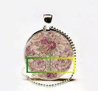 Pendant Necklaces Celtic Unisex Wholesale Rose Art Pendant,Soft Pink Rose Garden Necklace,Rose Charm Necklace, Rose Pendant Glass cabochon Necklace