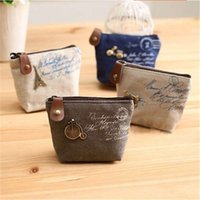 Wholesale Metal retro canvas zero wallet classic Eiffel Tower tower cloth coin purse key package