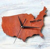 Wholesale Vintage Clock Creative Fashion Washington Map Wall Clock