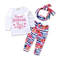Wholesale 2 Styles New Spring Autumn INS Baby Girl Pink Letters Printed T Shirt Floral Leggings Headband Suits Princess Outfits