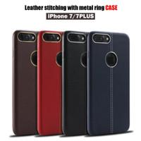 Teléfonos celulares casos de cuero Baratos-Para el iphone rojo 7 7 cuero de cuero suave del caso que costura con la caja del anillo del metal Cajas del teléfono celular de TPU