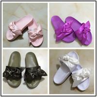 Moccasins beach sandal womens - New Womens Fenty Bandana Slide Wns Slippers Designer Ladies Rihanna Butterfly Slippers Gold Purple Blue BOW SATIN SLIDE SANDALS