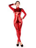 achat en gros de rouge métallique zentai-Rouge Shiny Zentai Catsuit Metallic Lycra Deuxième Skin Bodysuit Halloween Cosplay Party Zentai Tight Suit Livraison gratuite